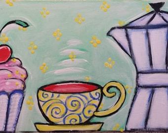 Acrylbild Original Acryl Kunst Bild Malerei Good morning Guten Morgen Kaffee Cupcake Italien Italy