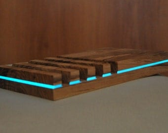 Glowing iPad, iPhone stand with 4 slots, Wooden iPad stand, Ash wood iPad stand