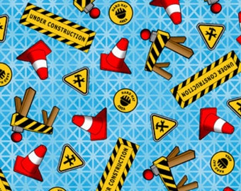 Tonka Road Work Blue Fabric From Quilting Treasures