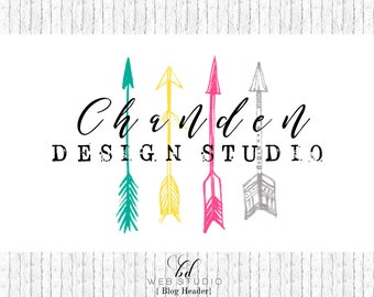 Arrow Blog Header | Colorful Blog Logo| Website Header | Premade Logo | Modern Blog Header | Tribal Blog Banner | BD-007