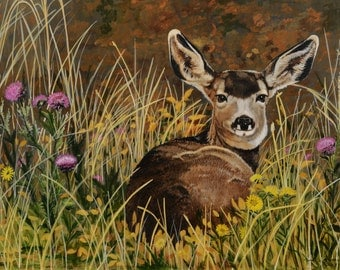 "Deer painting Fawn painting Original painting Acrylic painting Framed painting One of a kind 18"" x 24"" Gift for her Gift for him Thistle Bed"