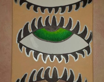 Three Blind Eyes Original Stretched Canvas Acrylic Paint Wall Art