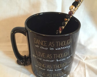 Black Quoted Mug with Beaded Teaspoon