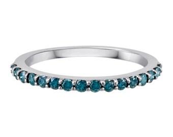 1/3 CTTW Enhanced Blue Diamond Wedding Band in 14K White Gold