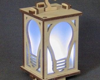 "Tea Light Lantern ""Lightbulb"" -- laser cutter project files"