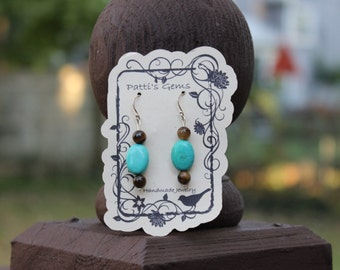 Turquoise & Tiger's Eye SS Earrings