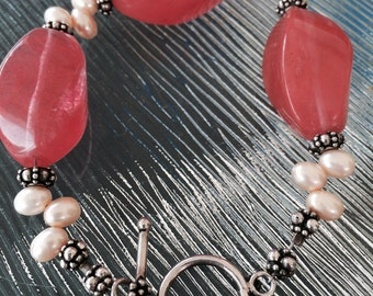 Strawberry Quartz beaded Bracelet with Bali Silver  and Pearls