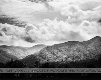 mountain photo, Tennessee landscape, black and white fine art photography