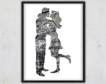 Printable Digital Art, Printable Love Print, Wood Poster, Downloadable Wall Art, Man and Woman Kiss, Art Print, Grey Instant Download Print