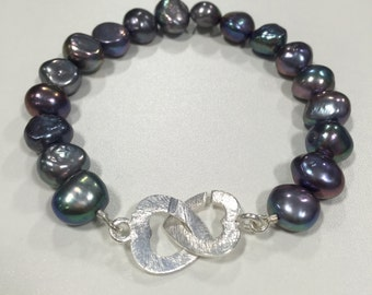 Pearl Bracelet with Silver Interlocking Heart Clasp