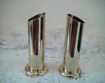 Brass Vases tube shape, brass Candle holders, brass pencil or brush holders, 2 vases, England 1960s, brass table decor, set of 2 brass vases