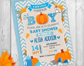 Pumpkin Baby Shower Invitation, Itu0027s A Boy Baby Shower Invites, Fall Baby  Shower Invitation
