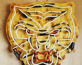 Wood Neon Art Mad Tiger