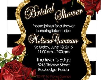 Bridal  Shower Invitation Red Black White and Gold