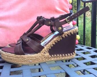Vintage wedge sandals brown UK size 7 EU 40