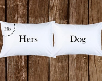 his hers and dog pillow case funny cool couple pillow personalized printed - Pillow Design Ideas