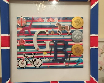 Handmade unique celebrating TeamGB at Rio 2016. Available ready to post