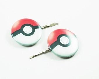 Pokemon PokeBall Bobby Pins - Hair Pins