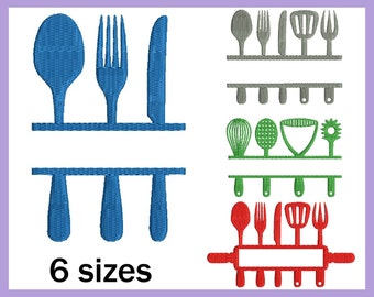 Split Kitchen - Designs for Embroidery Machine Digital Graphic Filled Stitch Instant Download Commercial Use spoon knife fork file 176e