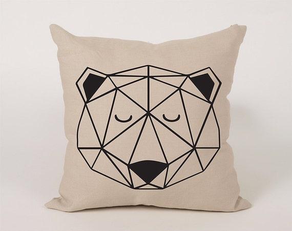 Bear Throw Pillow Covers : Geometric Bear Face Cotton Throw Pillow Cover 16x16 18x18