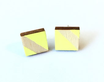 Square Neon Hand Painted Wood Earrings