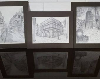 3 Drawing of New Orleans French Quarter(Vieux Carre') by Archie Boyd