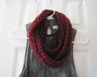 Crochet Casual Burgundy Beauty Infinity Scarf Ready to Ship