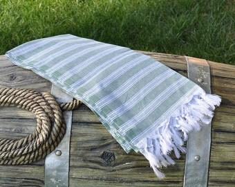 Green Turkish Towel Peshtemal Towel Pestamal