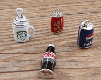 10PCS -Coke Bottle Charm -Starb Charms -Drink Bottle Charm -Enamel Bottle -Gold Plated Charm -Bottle Findings -Craft Supplies -Diy Charm