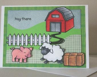 Greeting Card Handmade, Hello Card Handmade, Farm Animal Greeting Card, Handmade Greeting Card