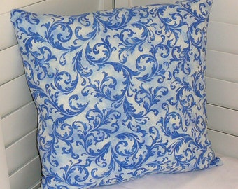"""Pillow Covers 18"""" x 18"""" Throw Pillow Covers, Decorative Pillow Covers, Pillows, Cotton Floral Print Fabric, Delft Blue, White, Leaves"""