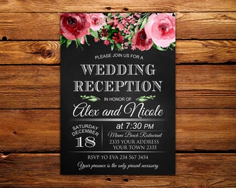 Wedding Reception Invitation. Rustic Wedding Reception Invitation. Chalkboard. Watercolor flowers.