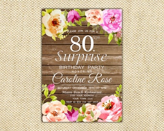 80th Birthday Invitation. Surprise Birthday Party Invitation. Wooden Birthday Invitation. Watercolor flowers. 40th, 50th, 60th, 70th.