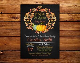 Fall Baby Shower Invitation. Baby Shower Invitation. Autumn Baby Shower Party.  Leaves Fall Autumn Rustic. Chalkboard.