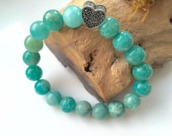 Charm Bracelet • Russian Amazonite Beaded Bracelet  • Blue Green Gemstone Bracelet • Mala Beads • Aqua Blue Stretch Bracelet • Gift for Her