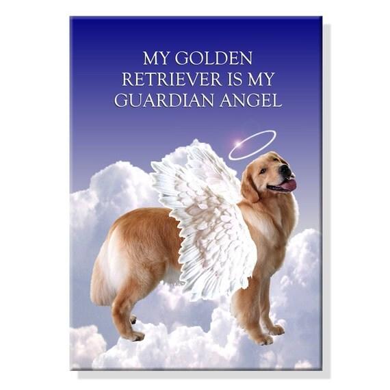 Golden Retriever Guardian Angel Fridge Magnet