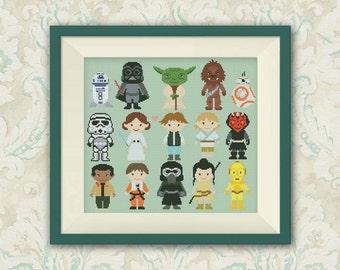 BOGO FREE! Star Wars Cross Stitch Pattern, Mini Pixel People Counted Cross Stitch Chart, Han Solo, Pr. Leia, PDF Instant Download,S046