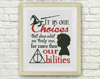 BOGO FREE! Harry Potter Cross Stitch Pattern,Quote Hogwarts Counted Cross Stitch Chart,TV-Movie,Modern Decor,pdf Instant Download,S044