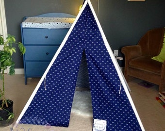 Play Tent- Navy and White Anchor Fabric, designer Michael Miller