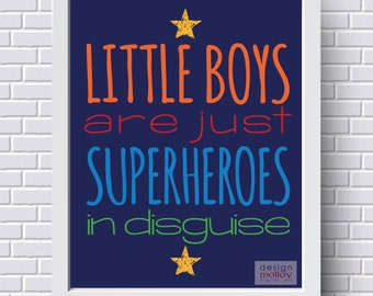 Superhero Wall Art - Superheroes in Disguise, Instant Download Printable Art, Superhero Room Decor, Superhero Decor, Little Boys Room