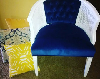 Vintage chair with new blue velvet fabric