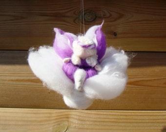 baby mobile Waldorf, wool nursery mobile, felt swan mobile, crib mobile swan, nusery felted mobile, swan pixie angel, elf kendal fairies UK
