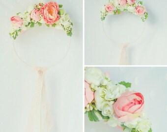 Peach and Cream Floral Wreath Mobile