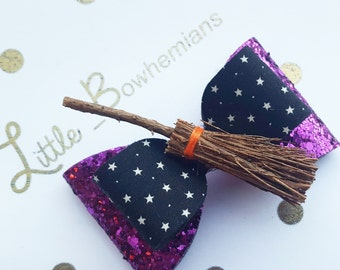 Girls halloween witches broom hair bow