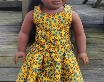 Yellow skirt and top for 18 inch doll