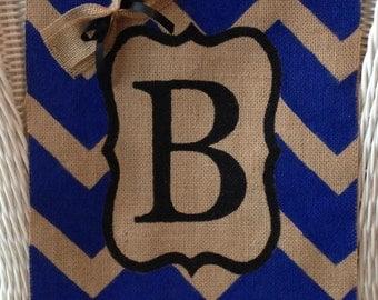 Personalized Chevron Burlap Garden Flag