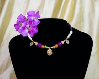 colorful macramé tribal necklace