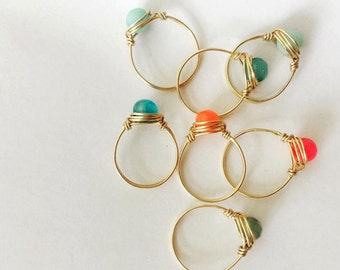 Handmade gold filled, wire-wrapped gemstone ring