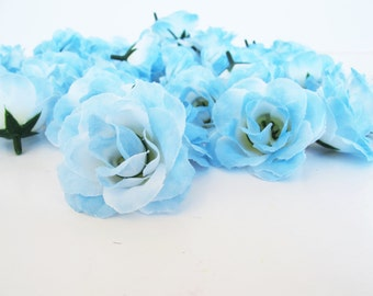 "Lot of 100 Roses Mini Silk Light Blue Roses 2"" Artificial Flowers Rose Floral DIY Wedding Party Girl Simulation Flower Supplies"