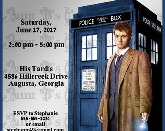 Dr. Who Birthday Invitation, Dr. Who Inspired Birthday Invitation, Dr. Who David Tennant Inspired Birthday Invitation